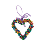 Multi Coloured Hanging Heart Christmas Decoration
