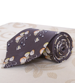 Grey Silk Tie with Floral Design